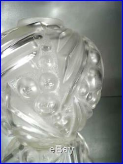 1920-30 D. Guéron Degué Et É. Cazaux Gros Vase En Verre Soufflé-moulé Art Déco
