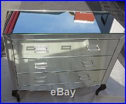 1950' Commode art deco miroir 3 tiroirs 6 poignées verre bagues argentées