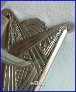 2 Appliques en bronze nickelées et verres moulés période Art-Déco vers 1930