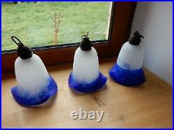 3 tulipes pâte de verre Degué pour lustre art déco