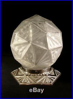 A. Cherpion Lampe Art Déco Moderniste Bronze Nickelé & Globe Verre Pressé 1930