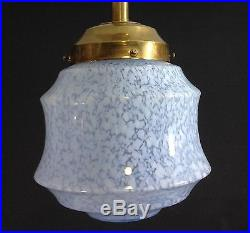 ANCIEN LUSTRE AVEC VERRE BLEU DE CLICHY suspension années 30 luminaire lampe