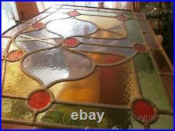 ANCIEN VITRAIL / VITRAUX / GEOMETRIQUE /50 x 42,5/35 cm/2,6 kg/BELLES COULEURS