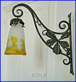 APPLIQUE lampe MULLER FRÈRES FER FORGÉ PTE DE VERRE ART déco / NOUVEAU 1900