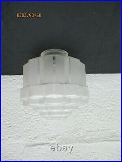Abat jour verre depoli suspension lamp building skyscraper art deco plafonnier