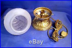 Ancien Globe Verre Plafonnier Veilleuse Sur Socle Laiton Art Deco