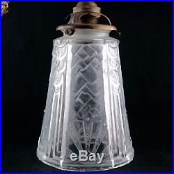 Ancien, Lampe Tulipe ART DECO Verre & Bronze, lamp glass shade, muller/degue