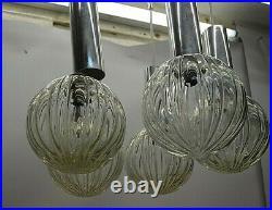 Ancien Lustre Art Deco A Boule De Verre Plafonnier Suspendu Suspension