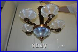 Ancien Lustre Art Deco Ezan Opalescent