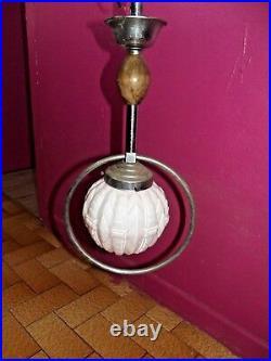 Ancien Lustre Suspension Abat-Jour verre Blanc légèrement rose pastel chandelier