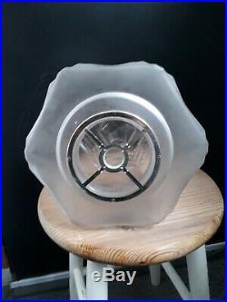 Ancien grand SKYSCRAPER LAMPE SUSPENSION ART DECO verre lustre GLOBE OPALINE