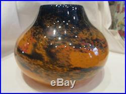 Ancien gros vase pate de verre signé mulaty orange bleu ovoide art deco