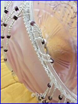 Ancien lustre/abat jour Art-Déco en verre opalescent rose avec pendeloques-1920