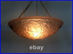 Ancien lustre, suspension vasque rose VERDUN Art Déco 1 Feu, en pâte de verre