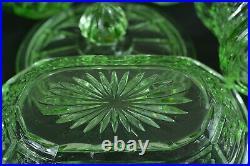 Ancien nécessaire de toilette en ouraline Art Déco Uranium glass