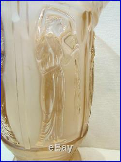 Ancien vase en verre pressé givré epoque art deco 1930 a decor neiades