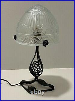 Ancienne Lampe Fer Forgé art déco Dôme en verre moulé décors papillons