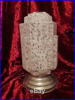 Ancienne lampe Art Déco Skyscraper 1930 Building globe verre blanc moucheté P