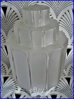Ancienne lampe Building skyscraper 30 cm verre à gradins socle en porcelaine