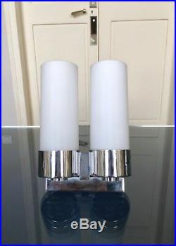 Applique de style Art Déco moderniste Luminaire Lampe verre Chrome Décoration