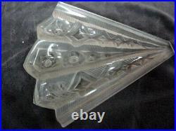 Appliques art deco verre presse moulé fer forgé pate de verre de Noverdy
