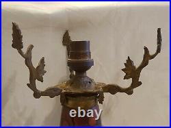 Art Deco Art Nouveau Pied Lampe Champignon Emaille Et Bronze Legras A Completer
