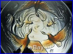 Art Déco Grand Coupe Verre Moule Opalescent Poissons Oiseaux Verlys Sabino