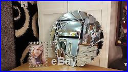 Art Déco Rond Bord Biseauté Cadre Noir Miroir Mural Verre 60cm Design Tourbillon