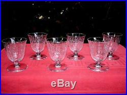 Baccarat Argentina 6 Wine Crystal Glasses Verre A Vin Cristal Gravé Art Deco A