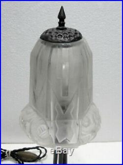 Belle LAMPE CHAMPIGNON en Fer forgé et Pâte de Verre 1930