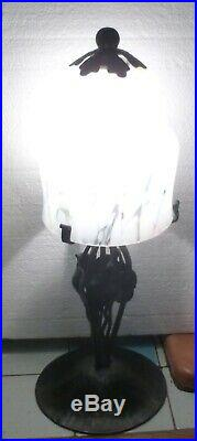Belle LAMPE CHAMPIGNON en Fer forgé tulipe verre coloré art déco années 30-40
