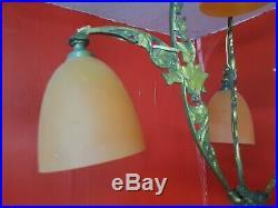 Chandelier Lustre art deco a 4 tulipes en bronze doré et pate verre schneider