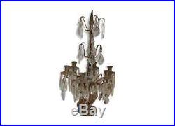 Chandelier / girandole en bronze avec des pampilles en verre