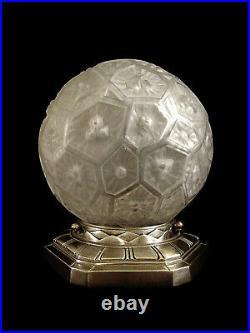 Charles Ranc Lampe Art Déco En Bronze Nickelé Et Globe Verre Pressé 1930