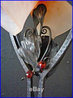 Charles SCHNEIDER, Lampe art nouveau art deco, fer forgé gingko, pâte de verre