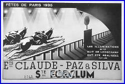 Circa 1935 rare Lampe Signée Claude Lumiere Paz & Silva dlg Perzel Art Déco