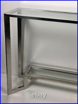 Console de style Art déco en inox et dessus verre longueur 120 cm