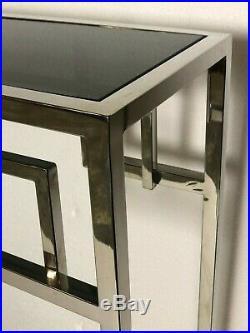 Console style Art Déco en métal chromé à dessus de verre fumée