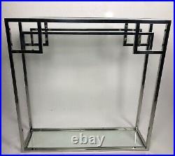 Console style Art Déco en métal chromé à dessus de verre transparent