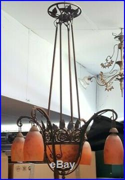 DAUM NANCY 1940's LUSTRE Fer Forge Pate de Verre Signe ART DECO Lamp Tulipes Art