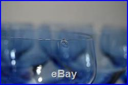 DAUM NANCY ART DECO 1940 18 verres eau(6) vin rouge(6) & blanc(6) verre bleuté