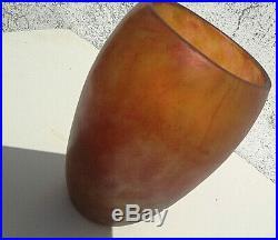 DAUM NANCY France tulipe orange pâte de verre marmoréen Art Déco