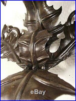 DAUM NANCY Paire dappliques en fer forgé aux chardons vers 1920/1925