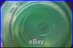 Daum Nancy Ancien Vase En Verre Opaline Vaseline Antique Glass Art Deco Signe