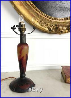 Daum Nancy Pied De Lampe D'époque Art Déco En Verre Multicouche Signé 22cm H