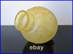 Daum Nancy ancien vase boule Art Deco en verre dégagé à l'acide