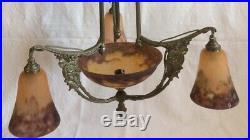 Degue. Lustre Pte De Verre Art Deco Monture Florale Chrome Petite Taille