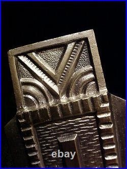 Des Hanots Applique Art Déco En Bronze Nickelé & Coupelle En Verre Presse 1930