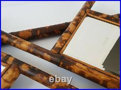 Double Miroir Art Deco En Bambou & Verre Biseaute 1920 1930 Vintage 20s 30s