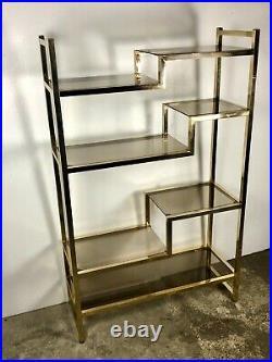 Etagère / bibliothèque en métal chromé doré vintage 70'S Lancel